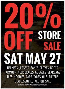 20% OFF STOREWIDE SALE @  NO LIMITS MOTO Morley Bayswater Area Preview