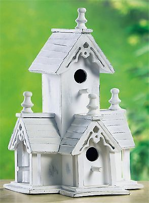 WHITE VICTORIAN BIRDHOUSE ** DISTRESSED 4 ENTRIES CLEANOUT LARGE INTERIOR ** NIB