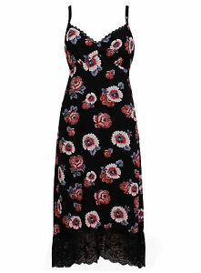 BRAND-NEW-LADIES-EX-MARKS-AND-SPENCER-BLACK-FLORAL-STRAPPY-DRESS-SIZE-8-18