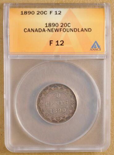 1890 Canada Newfoundland Silver 20 Cents ANACS F 12