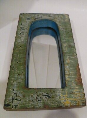 Vintage Wooden Indian Arched Temple Mirror With Original Green Paint