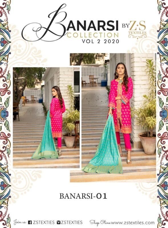 BANARSI VOL 2 BY Z.S 100% LAWN AVAILABLE SIZES  L 3 PIECE SUIT READY TO WEAR