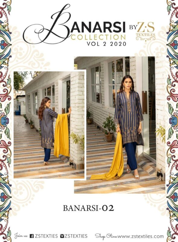 BANARSI VOL 2 BY Z.S 100% LAWN AVAILABLE SIZES  S 3 PIECE SUIT READY TO WEAR