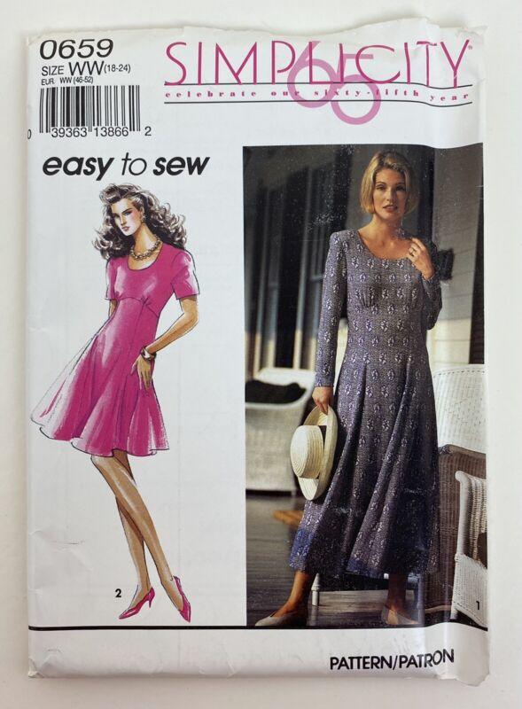 Simplicity Pattern 0659 Misses Flared Skirt Dress Size 18-24 Uncut 1992