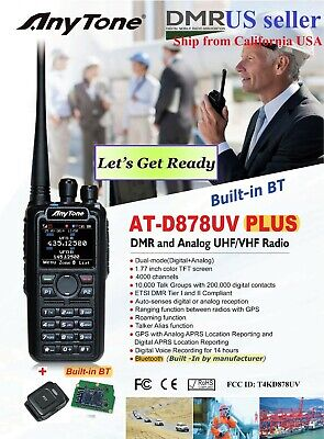 AnyTone AT-D878UV Plus GPS Bluetooth 3100 mAh battery and more    US seller