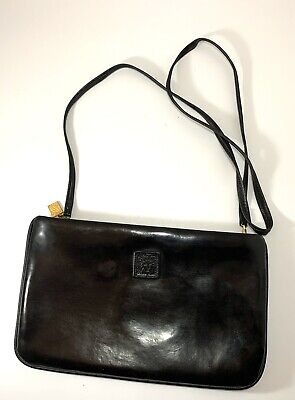 Anne Klein Black Leather Crossbody Shoulder Convertible Clutch 10x6Purse Handbag