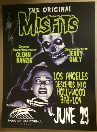 2019 MISFITS LOS ANGELES AUTOGRAPHED BY GLENN DANZIG CONCERT POSTER FAIREY 7/29
