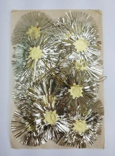 25 Vintage Christmas Ornaments Gold Tinsel And Foil Starbursts