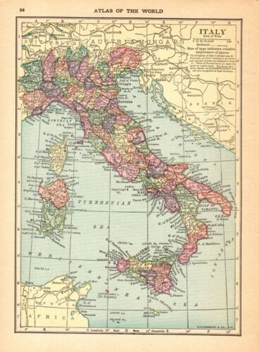 1910 Antique Map of Italy Vintage Italy Map Gallery Wall Art smap 9116