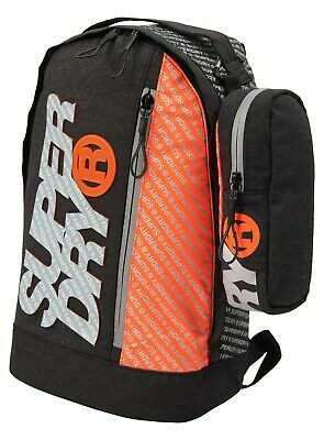 Superdry M91025MT/NHW Dawn Black Zac Freshman Polyester Bag Backpacks + Case