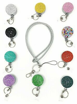 Silver Braided Lanyard With Bling Heavy Metal Retractable Badge Reel Steel Cord