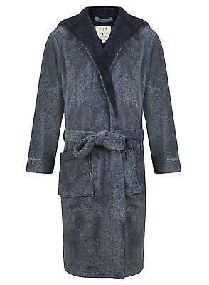 (Men's Super Soft Hooded Robe, Navy Blue Marl (sizes available))