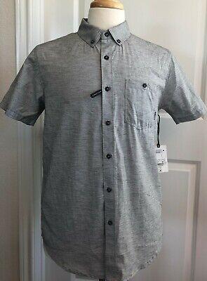 New Mens Billabong Grey Button Down Shirt, Stretch Woven, No Iron, Medium.   (D)