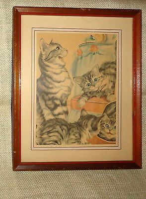 "VINTAGE PRINT Mama Cat with Playful Kittens 8-1/2"" X 10-1/2"" WOOD FRAME w/ GLASS"