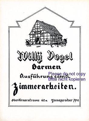 Zimmermann Vogel Barmen XL Reklame 1926 Zimmerer Zimmerei Werbung Fachwerkhaus +