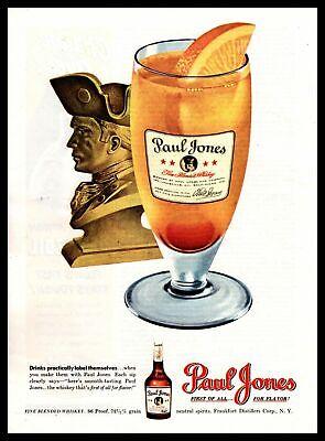 1948 Paul Jones 86 Proof Blended Whiskey Highball Mixed Drink Vintage Print Ad