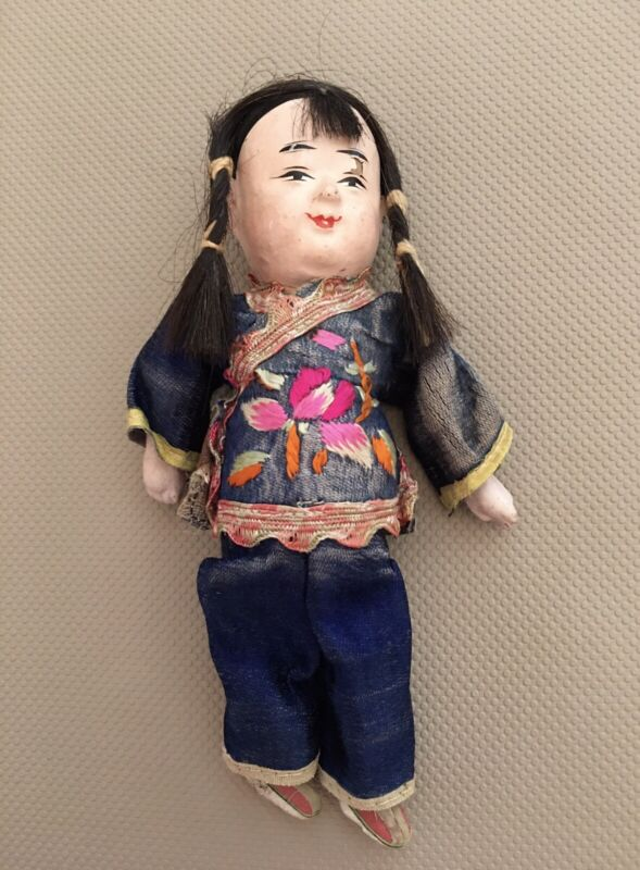 Antique Chinese Composition Doll In Embroidered Silk Clothing 7""