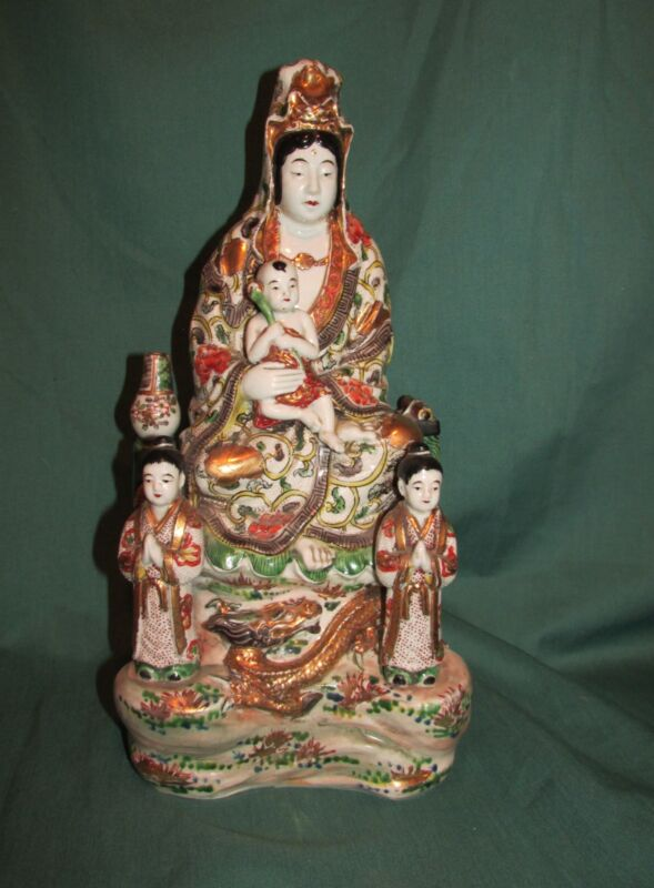 Very Good Antique Japanese Porcelain Figural Grouping Female with Children