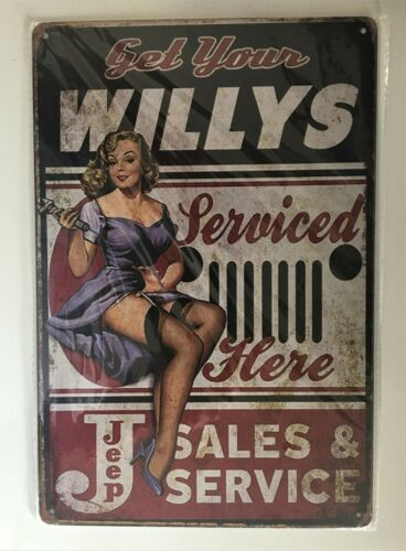 Willys Jeep Sales & Service Tin Sign (Ford Chevy Mopar Dodge Hot Rod Overland)