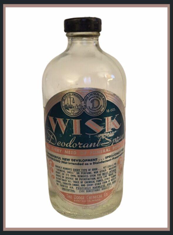 Dodge Chemical FUNERAL WISK  Deodorant Spray Glass 16 Oz Bottle-70% Full (K704)