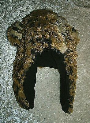 Leopard Novelty Faux Fur Hat Ear Flaps Fleece Lined Trapper style Adults/Teens.