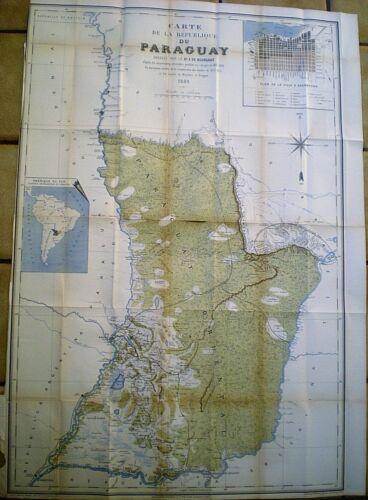 RARE 1889 FRENCH MAP OF PARAGUAY ~ DE BOURGADE ~ TRANSCONTINENTAL RAILWAY