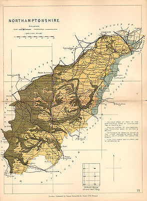 1889 HAND COLOURED GEOLOGICAL MAP ~ NORTHAMPSHIRE IRON ORES CETEOSAURIAN STRATA