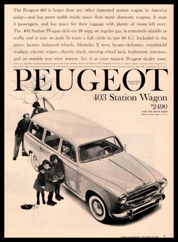 1960 Peugeot 403 4-Door Station Wagon 28 MPG $2490 Vintage Print Ad
