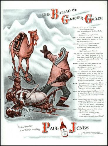1943 Ballad of Glacier Gulch Paul Jones Whiskey Camel vintage art print ad adL60