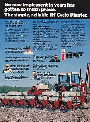 1978 International Harvester IH Cyclo Planter & Farm Tractor Print Ad