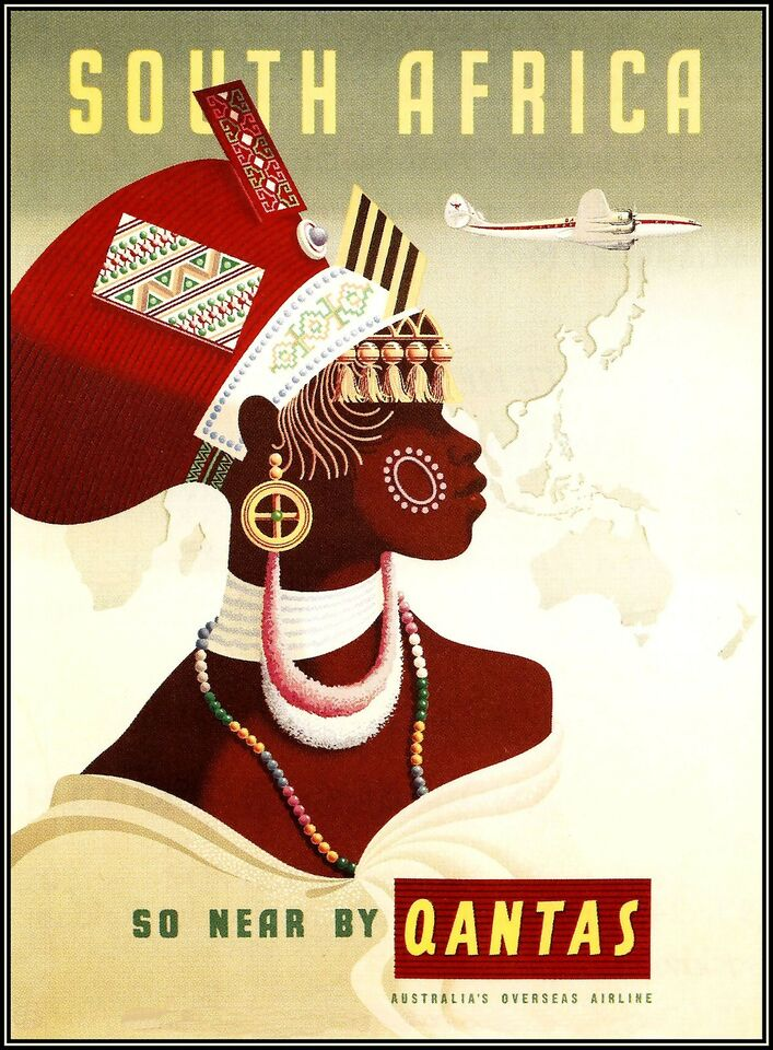 South Africa 1950 Qantas Airline Vintage Poster Art  Print Nice African Woman