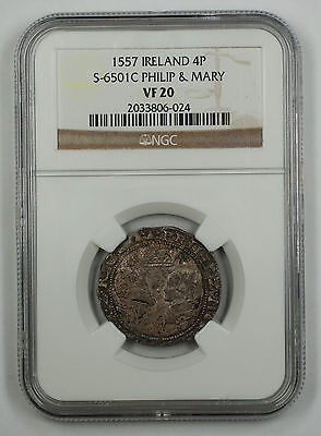 1557 Ireland 4P Silver Groat Coin S-6501C Philip & Mary NGC VF 20 AKR