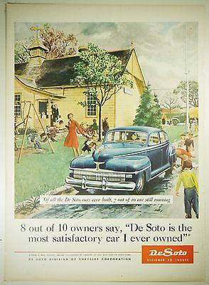Vintage 1944 CHRYSLER DE SOTO Automobile Lg Magazine Print Ad