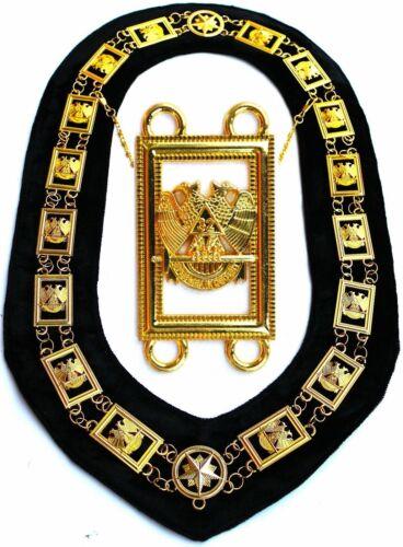 Masonic Collar 32 Degree WINGS DOWN Metal Chain BLACK Backing DMR1400GBK