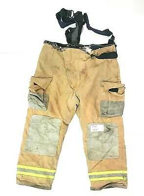 46x30 Globe Brown Firefighter Turnout Bunker Pants With Suspenders P0160
