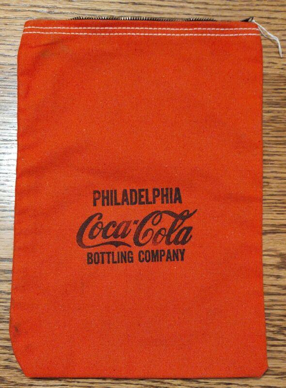 Vintage Philadelphia Tennessee Coca-Cola Bottling Co Zip Red Canvas Money Bag