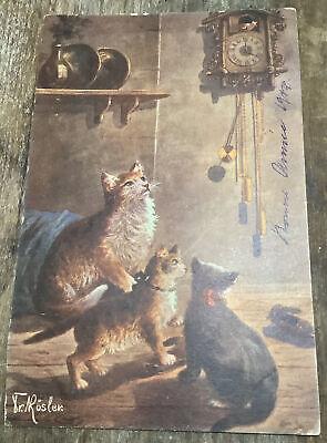 TR Rosler 3 Cats Kitten Looking At Cuckoo Clock Vintage Postcard UDB
