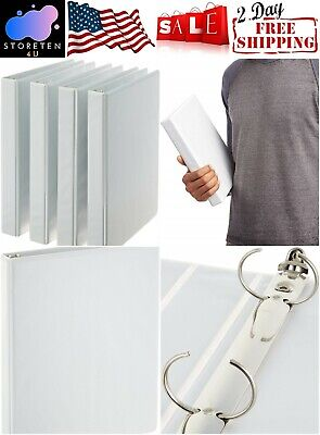 3 Ring Binder 1 Inch 1.5 Inch 2 Inch White 4 Pack School Office Supply