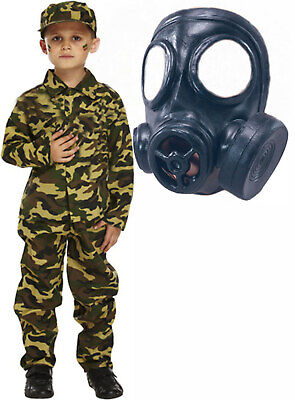 Army Boys Soldier Action Man Halloween Fancy Dress Costume Outfit with GAS MASK - Action Man Halloween