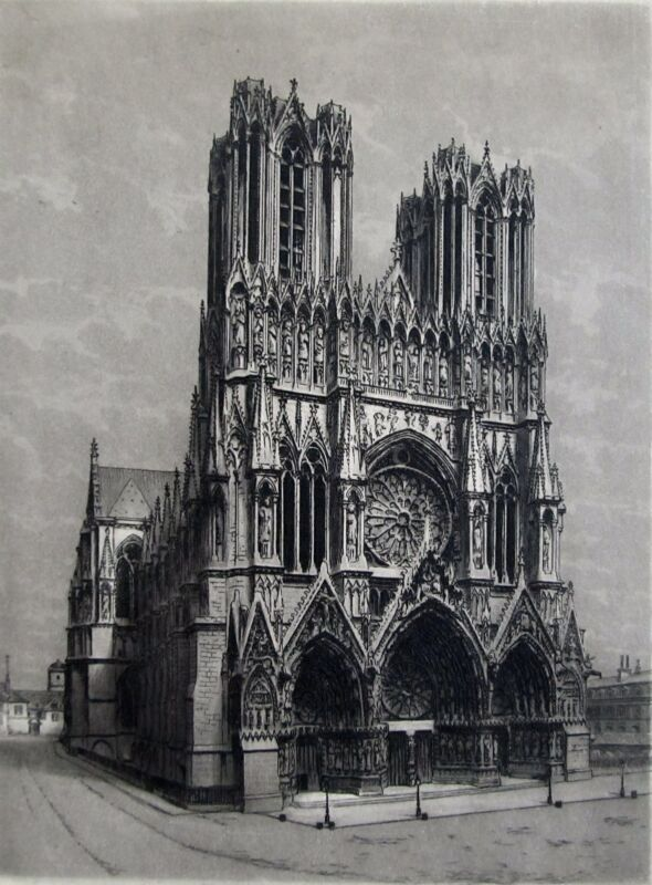 Reims Cathedral, Pencil Signed Etching, Victor Valery, Unframed.