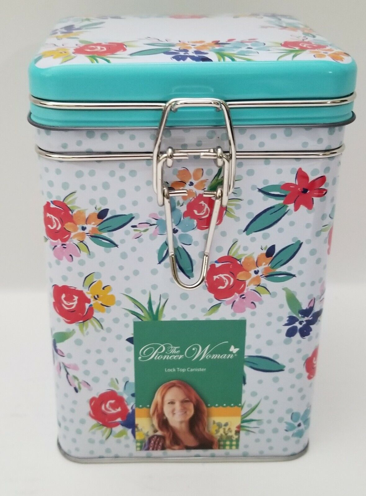 The Pioneer Woman Hinged Lock Top Square Tin Canister