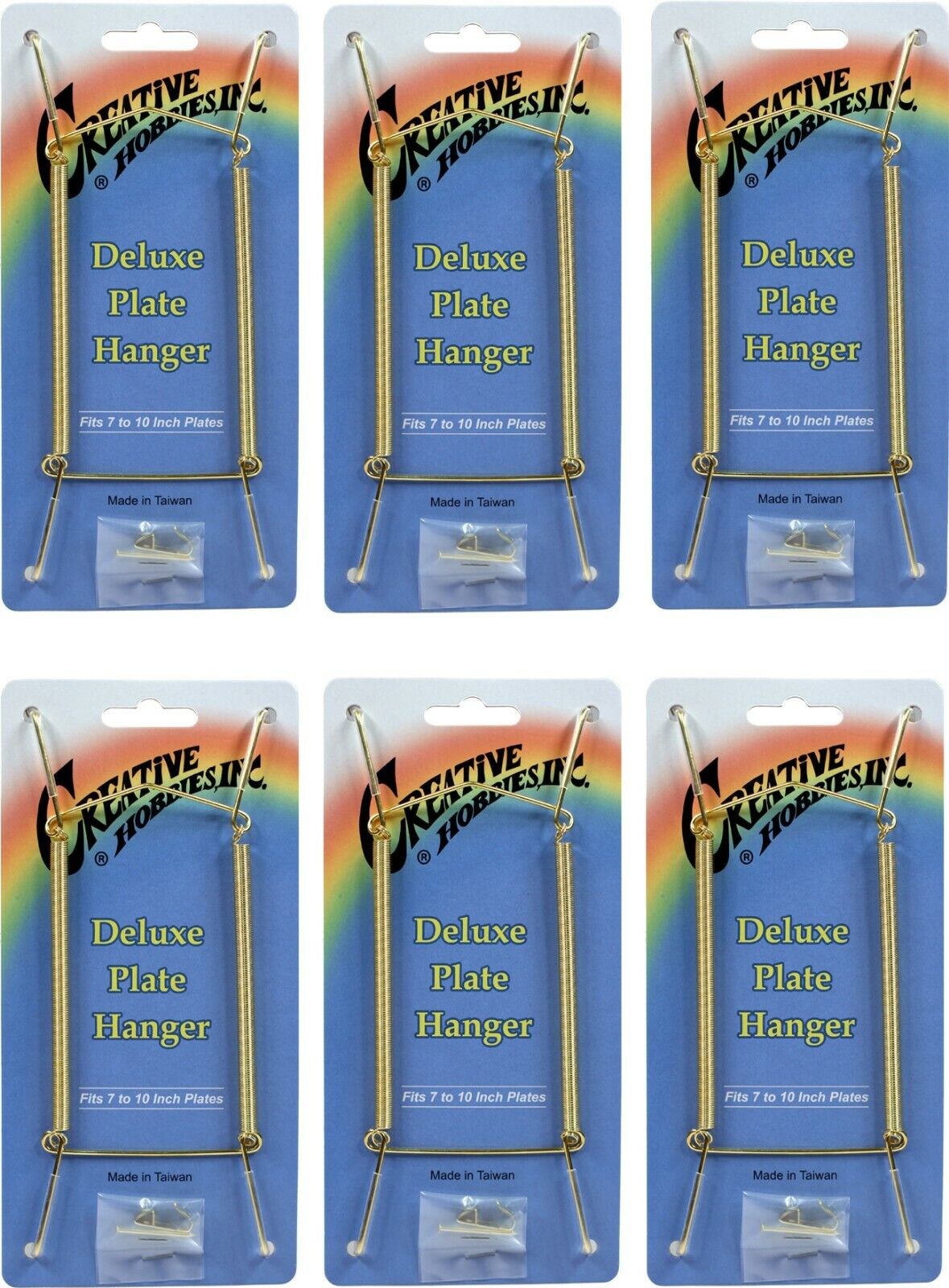 Gold Plate Display Hangers, Spring Type,Hold 7 to 10 Inch Plates -Pack of 6 Crafts