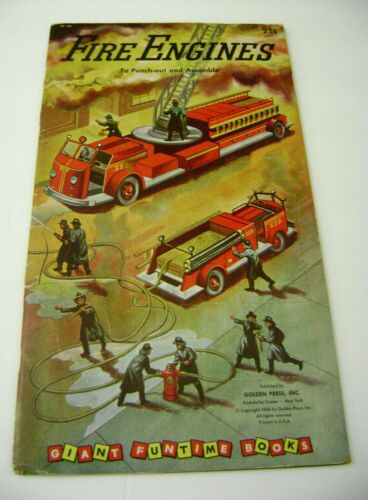 VTG PAPER TOY DOLLS 1958 FIRE ENGINES GOLDEN FUNTIME PUNCH BOOK UNUSED!!! giant