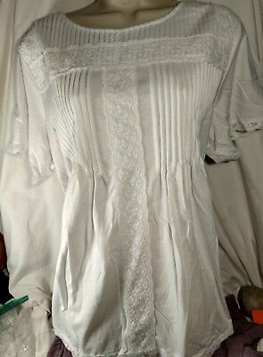 Woman Within White With Lace Accent And Trim Cotton Tunic L 18 20 Or 1X 22 24