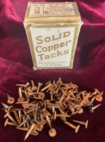 "Antique 1/8 lb. No. 3, 3/8 Inch Box of SOLID COPPER TACKS ""For Window Screens"""