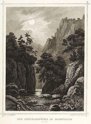 HARZ - BODETAL - TEUFELSBRÜCKE - Lange - Stahlstich 1858
