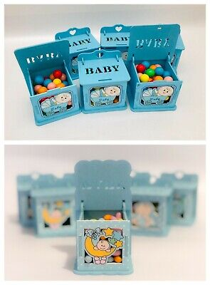 Set of Baby Shower Wooden Boxes Blue Boy Party Ideas Gift Favor Bags Decoration](Baby Shower Decorations Ideas)