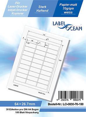 Klebeetiketten DIN A4 weiß 64x26,7mm (Laser Inkjet Kopierer) 100 Blatt