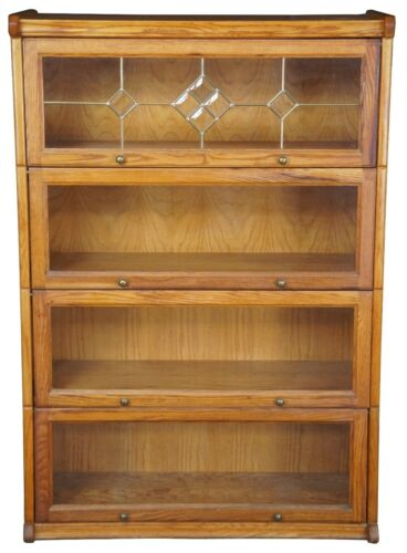 Vintage Mission Style Oak Leaded Glass Barrister Lawyers Bookcase Cabinet 55""