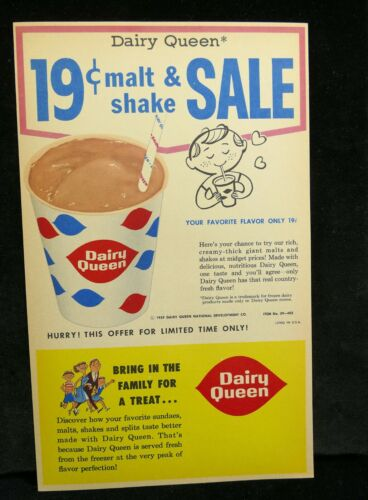 Dairy Queen Drive In 1959 Shake Coupon Original Junk Food Fast Food Décor